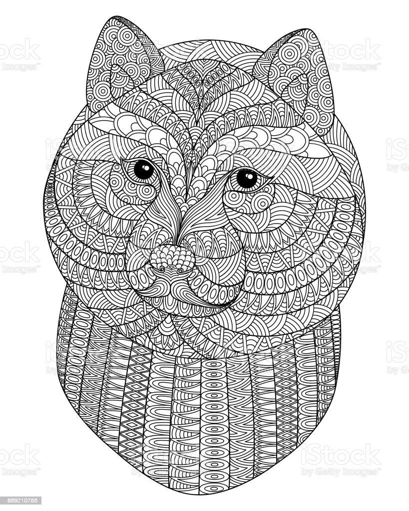 Black and white decorative head of a dog. – artystyczna grafika wektorowa