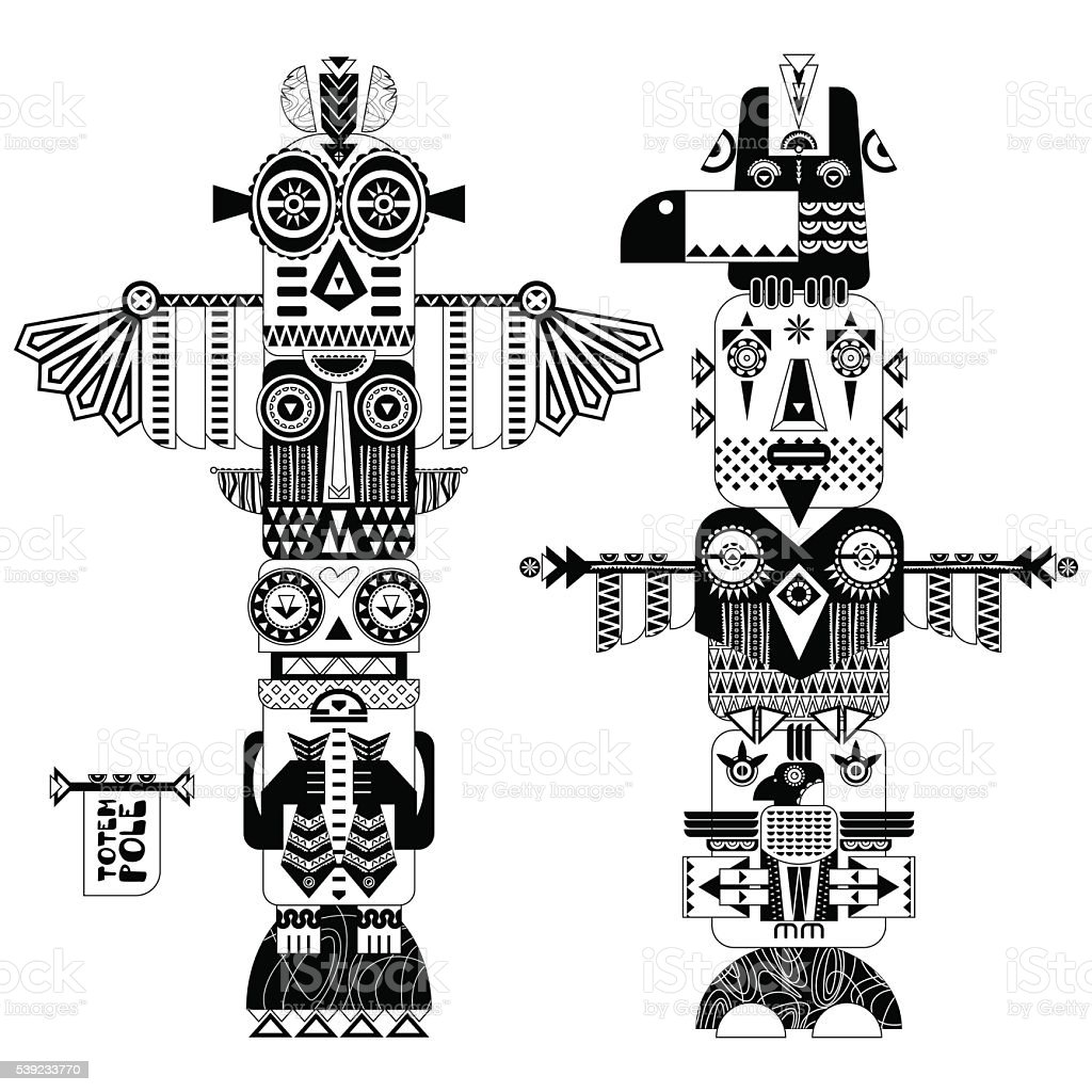 Black and white decorative totem poles. royalty-free black and white decorative totem poles stock vector art & more images of alaska - us state
