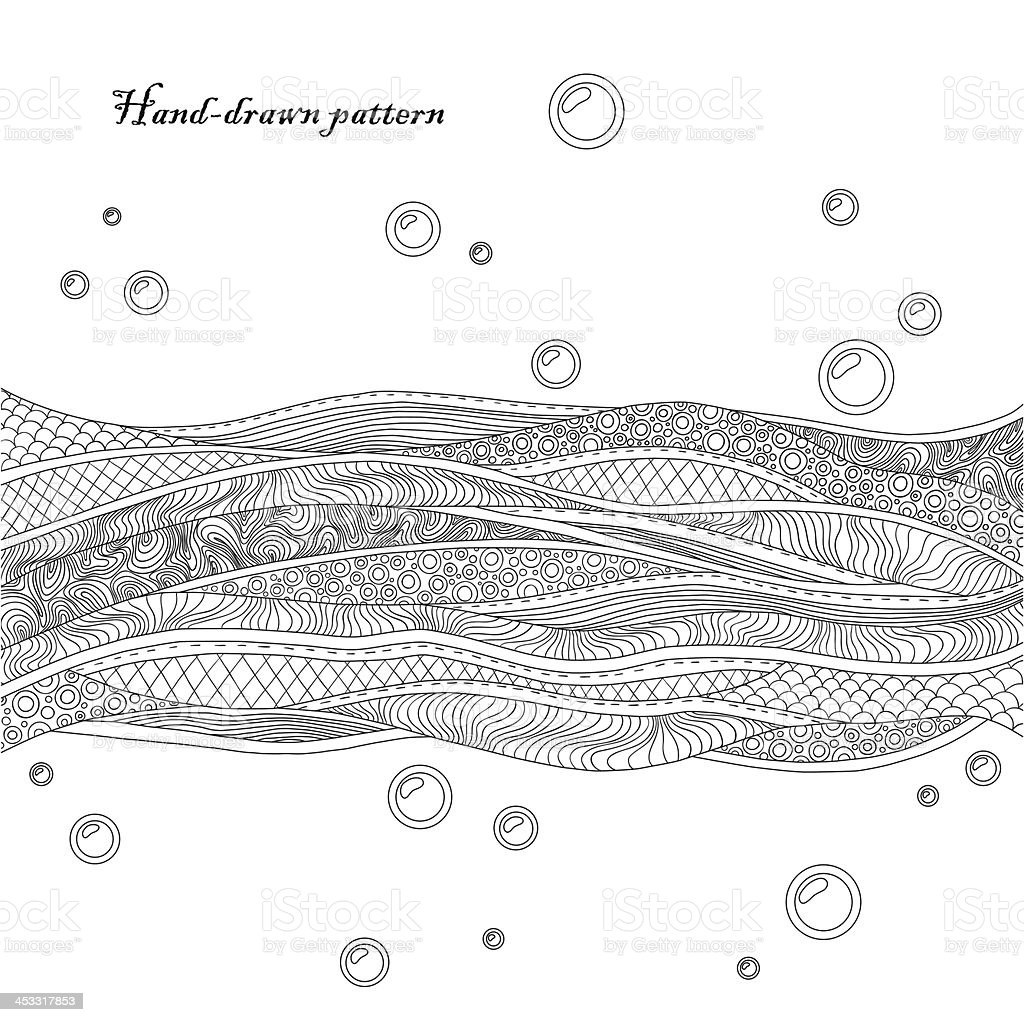 Black and white decorative waves background. Hand-drawn card vector art illustration