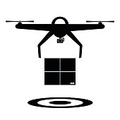 Black and white delivery drone with the package and drop target. Vector illustration drone icon icon futuristic concept.