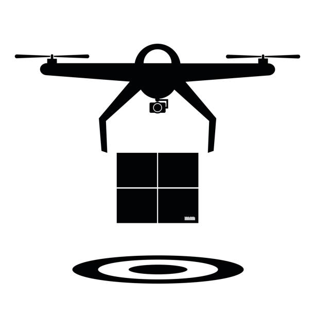 Black and white delivery drone with the package and drop target. Vector illustration drone icon icon futuristic concept. vector art illustration