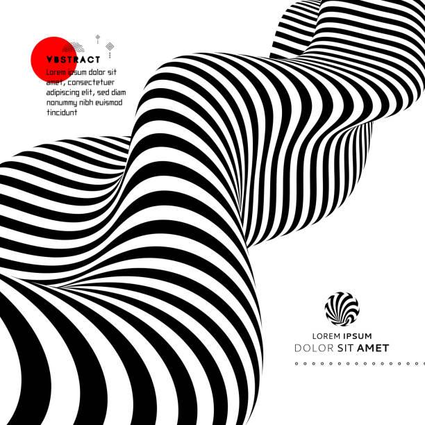 schwarz / weiß design. muster mit optische täuschung. abstrakte geometrische 3d-hintergrund. vektor-illustration. - surreal stock-grafiken, -clipart, -cartoons und -symbole