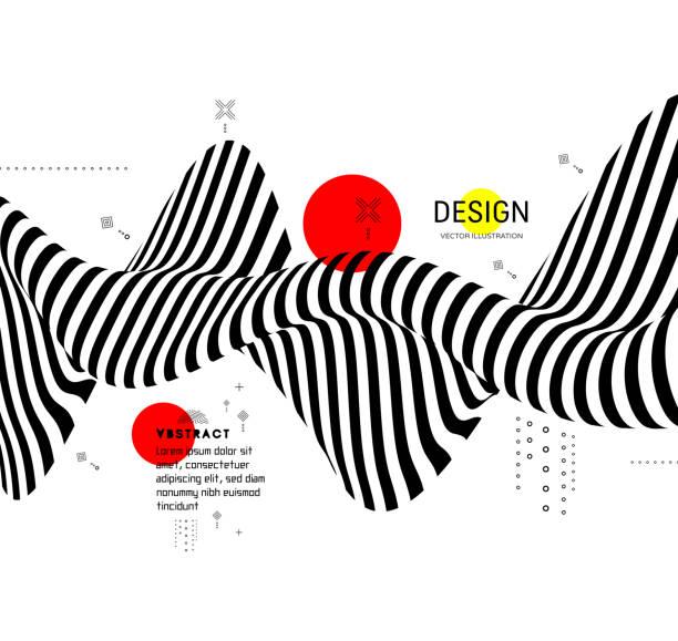 schwarz / weiß design. muster mit optische täuschung. abstrakte geometrische 3d-hintergrund. vektor-illustration. - landscape crazy stock-grafiken, -clipart, -cartoons und -symbole