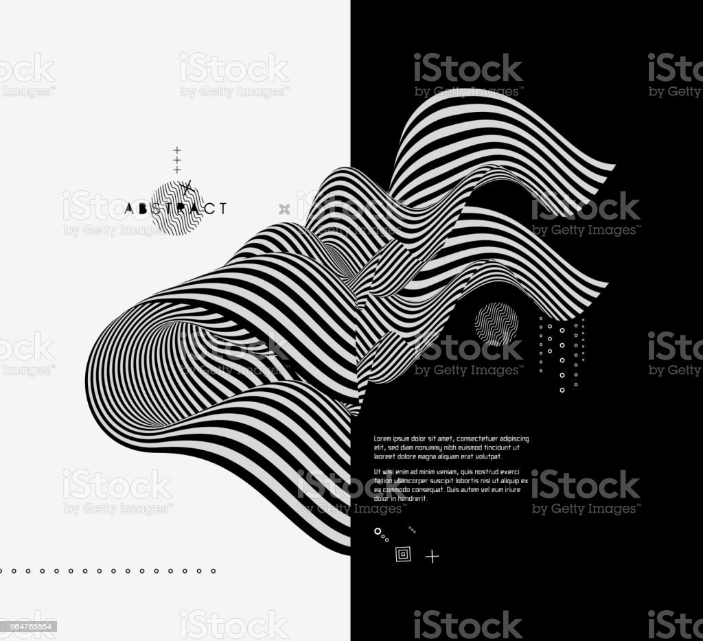 Black and white design. Pattern with optical illusion. Abstract 3D geometrical background. Vector illustration. royalty-free black and white design pattern with optical illusion abstract 3d geometrical background vector illustration stock vector art & more images of abstract