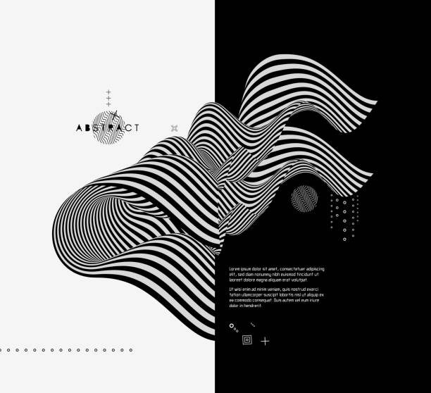 black and white design. pattern with optical illusion. abstract 3d geometrical background. vector illustration. - modern art stock illustrations