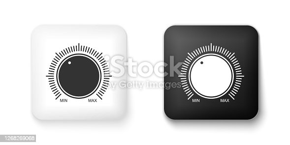 Black and white Dial knob level technology settings icon isolated on white background. Volume button, sound control, music knob with scale, analog regulator. Square button. Vector.