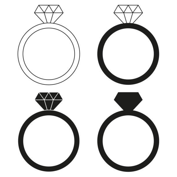 schwarz / weiß diamant ring silhouette set - modeschmuck stock-grafiken, -clipart, -cartoons und -symbole