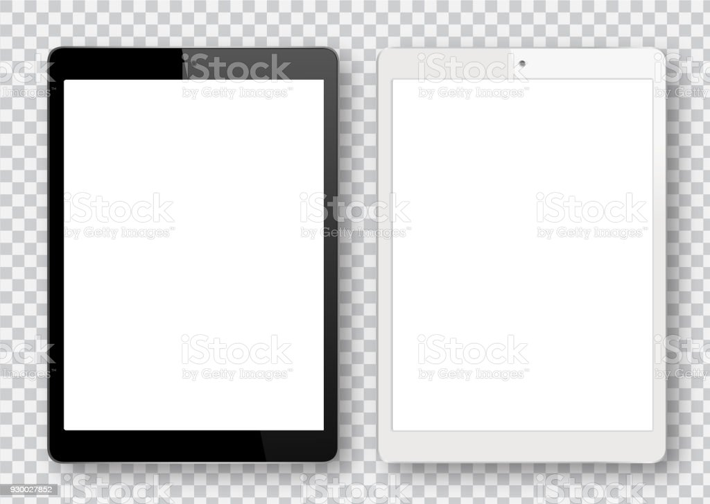Black and White Digital Tablet - Grafika wektorowa royalty-free (Bez ludzi)