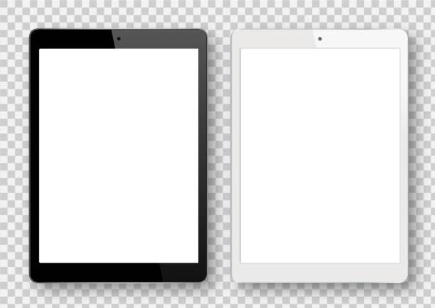 Black and White Digital Tablet Vector Black and White Digital Tablet ipad stock illustrations