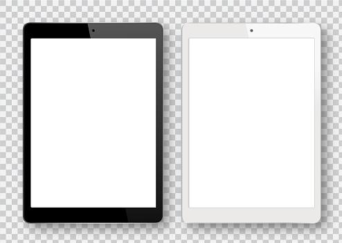 Black And White Digital Tablet - Stockowe grafiki wektorowe i więcej obrazów Bez ludzi