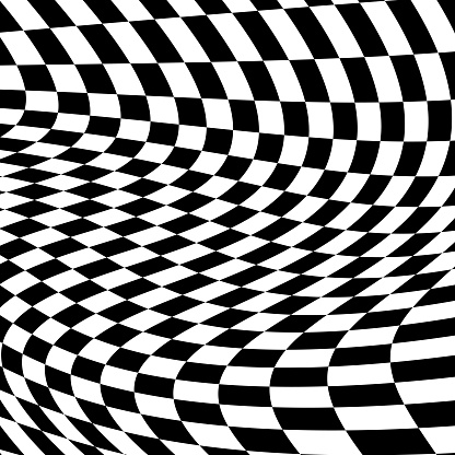 Black And White Distorted Checkerboard Background.