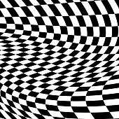 Vector background of twisted black and white checkerboard squares.