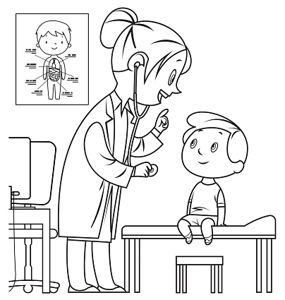 Black and white doctor and child