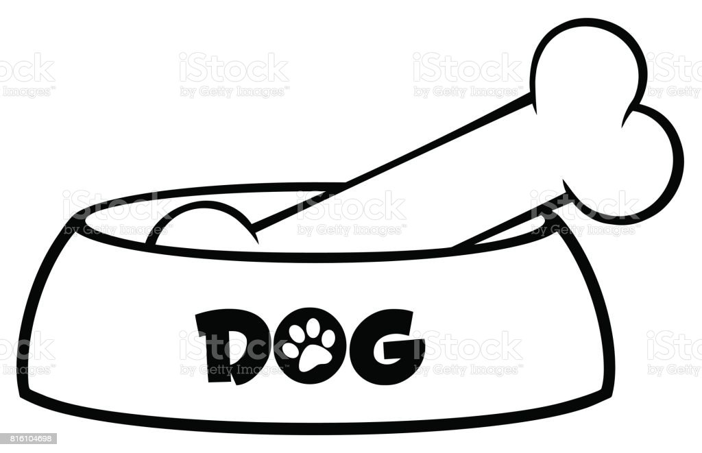 royalty free dog eating from bowl clip art vector images rh istockphoto com dog bowl clipart dog bowl clip art black and white