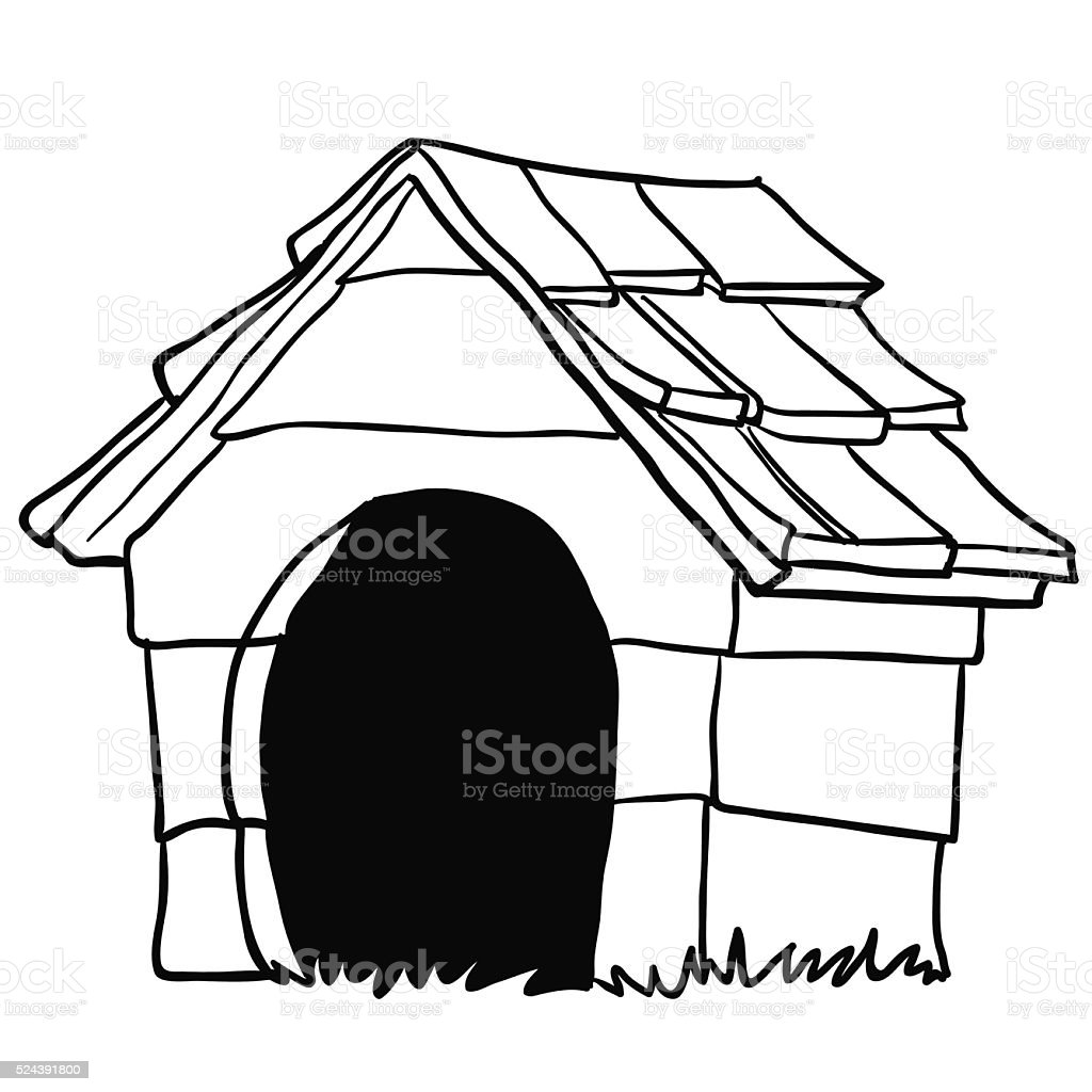 black and white dog house stock vector art more images of animal rh istockphoto com dog house clipart black and white dog house clipart black and white