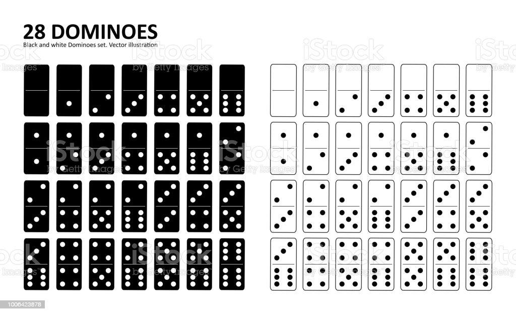 Black and white domino full set