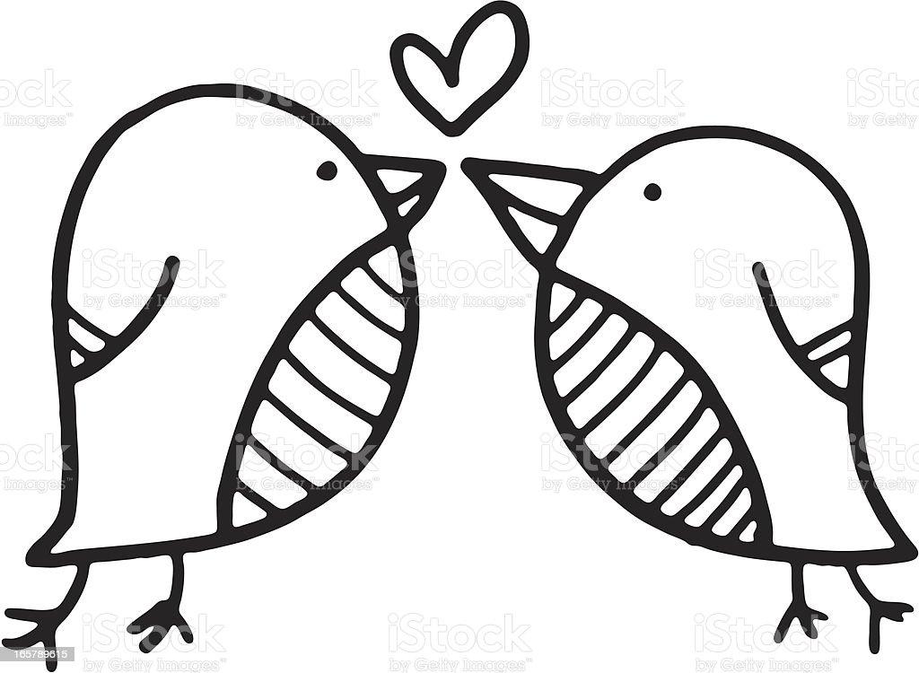 Blanco Y Negro Garabato De Dos Pájaros Del Amor