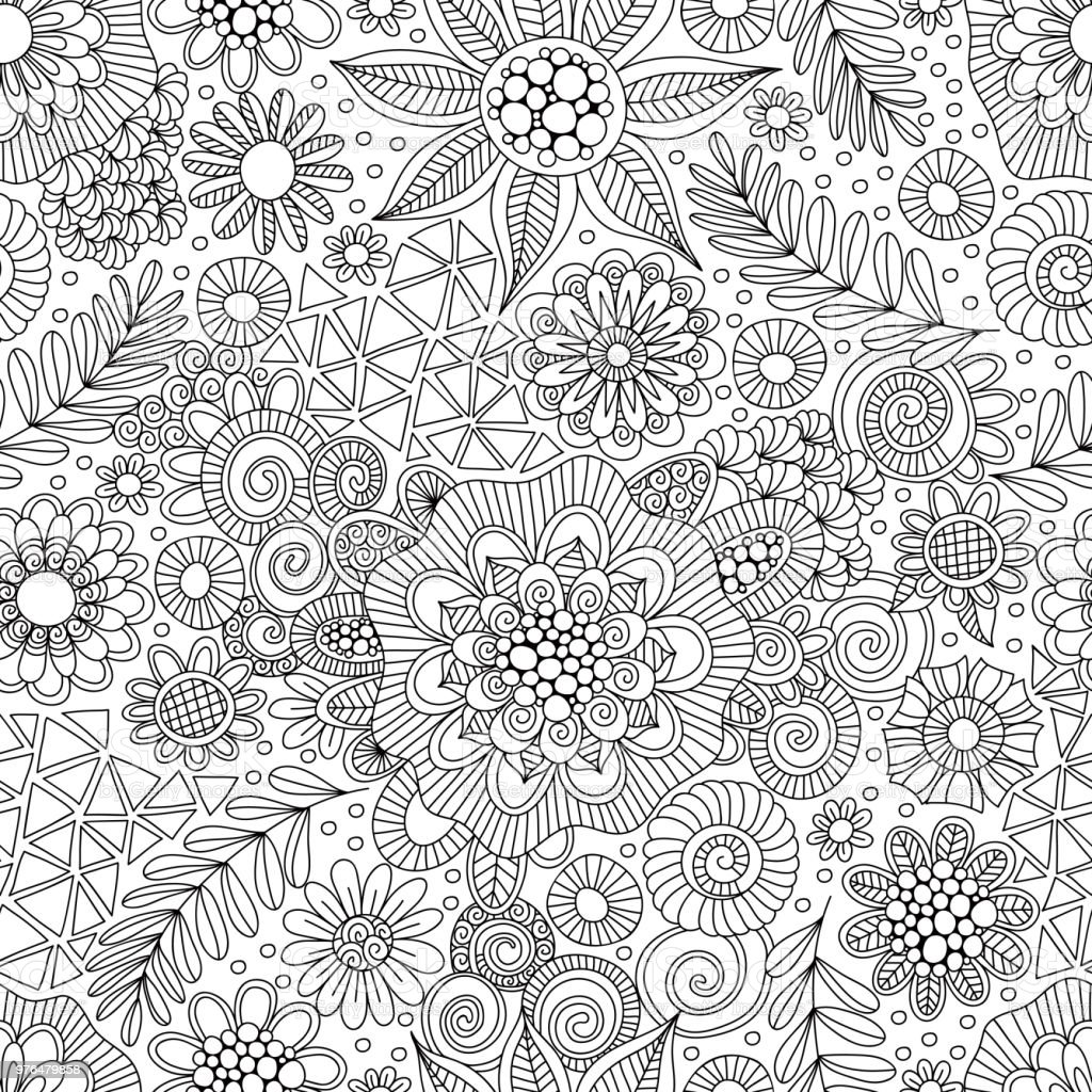 Black and White Doodle Repeat Pattern vector art illustration