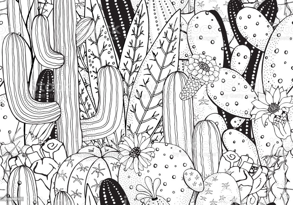 Black and white doodle seamless pattern with cactus. Prickly pear, agave, saguaro, cactus flower. vector art illustration