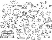 Doodle set of objects from a child's life, black and white outline.