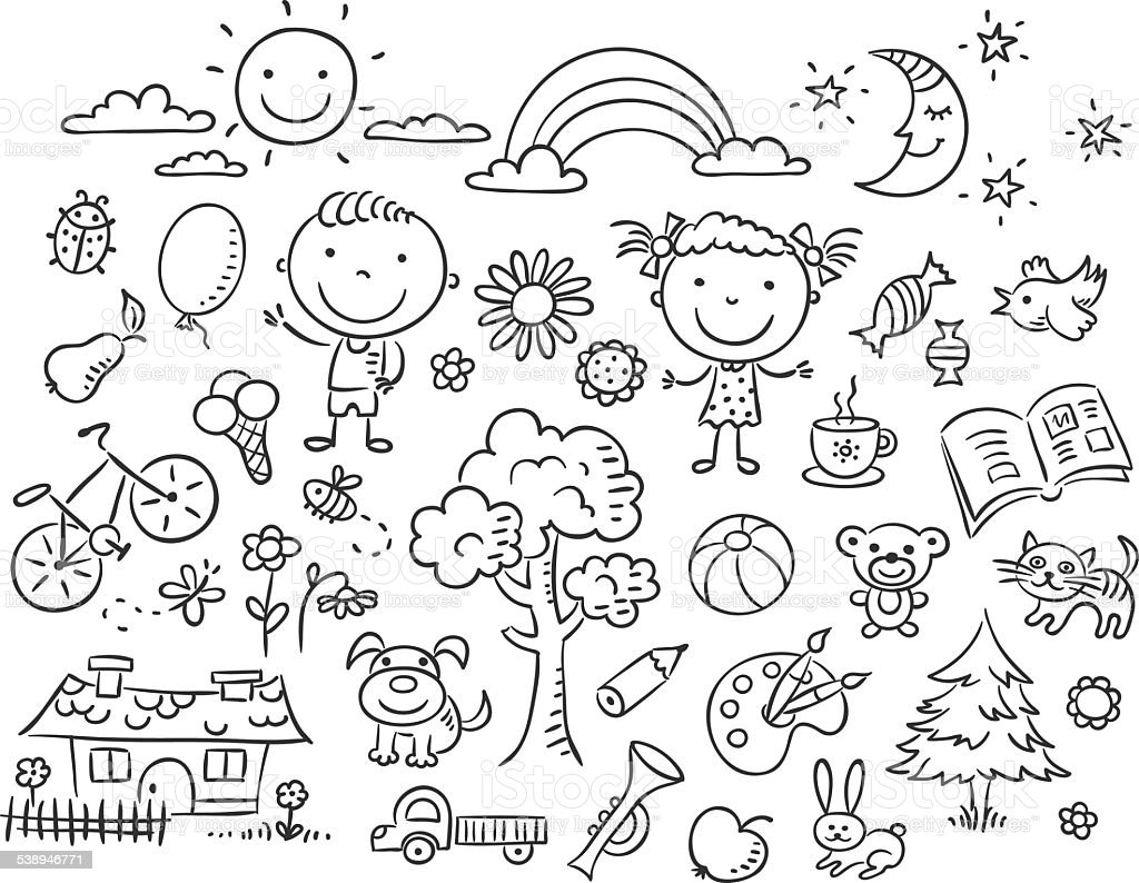 Black and white doodle set vector art illustration
