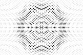 Black and white dotted halftone. Half tone vector background. Subtle centered dotted gradient. Abstract monochrome template. Black ink dot on transparent backdrop. Pop art dotwork. Retro design effect