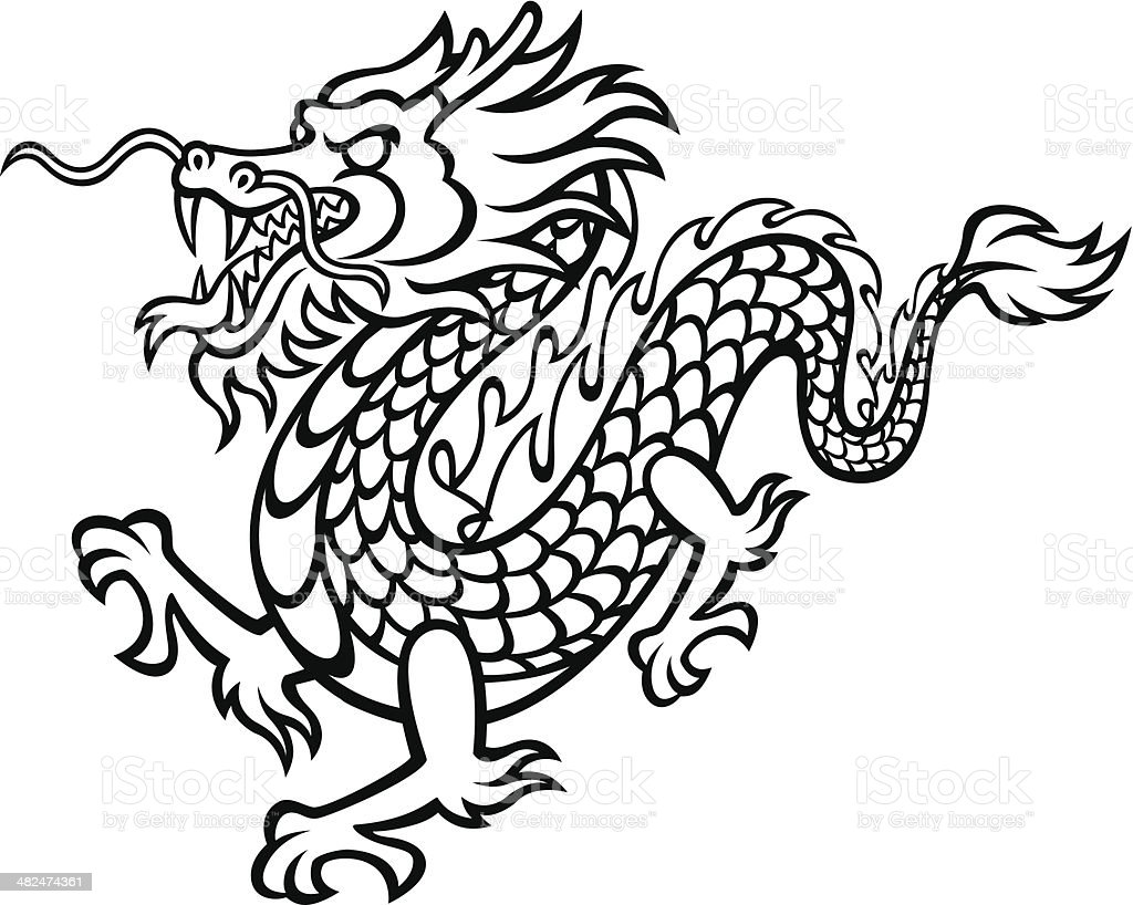 Black and White Dragon royalty-free stock vector art