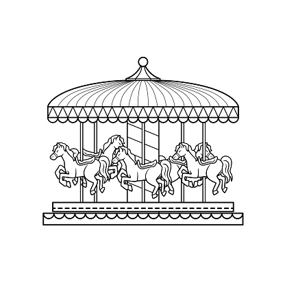 Black and White Drawing illustration of a carousel in a white background For assembly Or create teaching material for mothers who do Homeschool And teachers who find pictures for teaching materials such as flashcards or children's books.