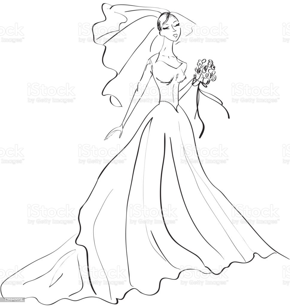 Black and White drawing of a Bride vector art illustration