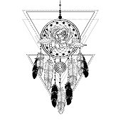 Black and white drawing of a dreamcatcher