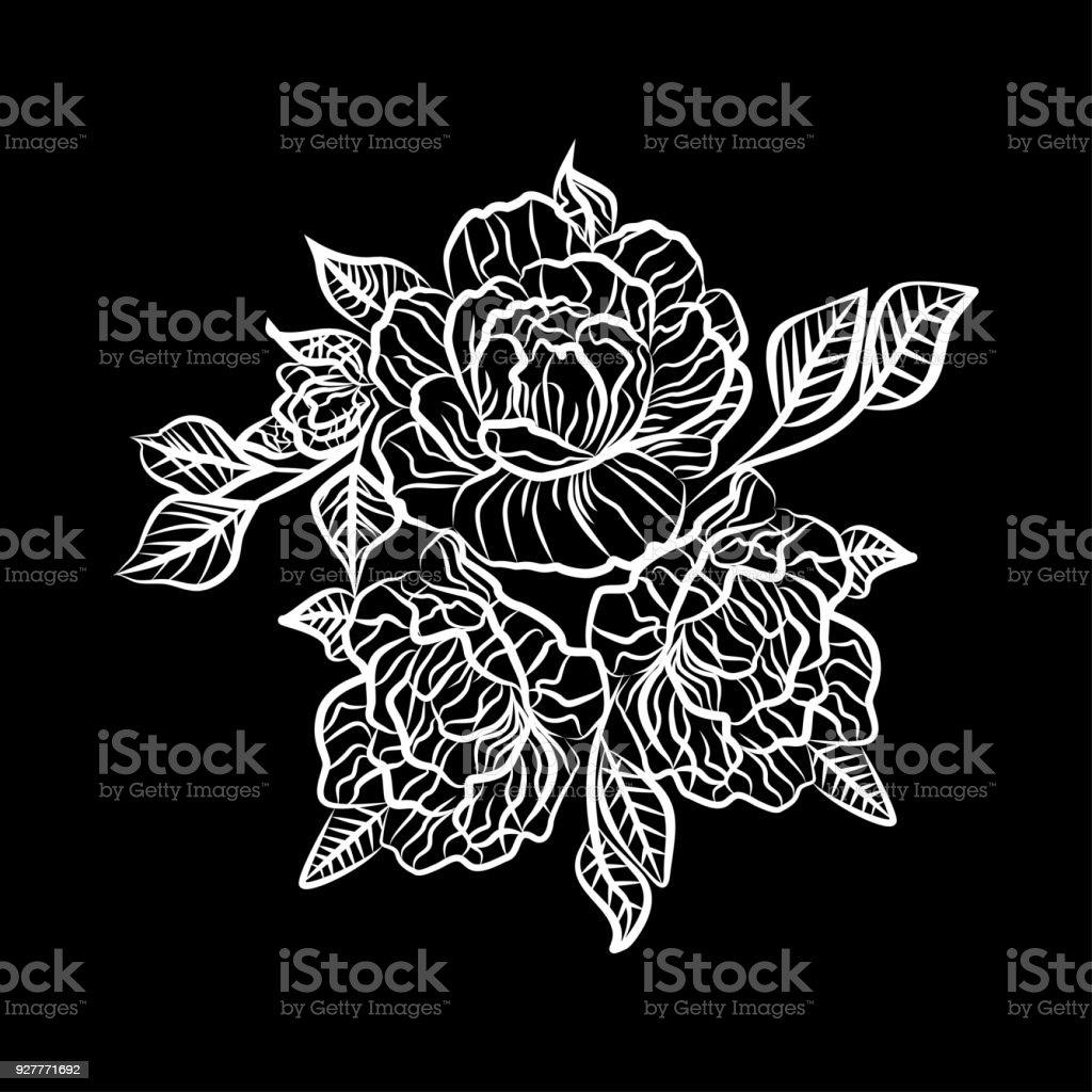 Dessin Dun Tatouage Rose Noir Et Blanc Silhouette De Branche
