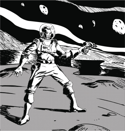 Black and white drawing of a spaceman on another planet