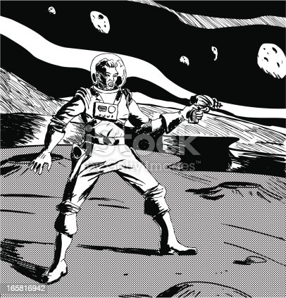 Retro spaceman with a ray gun in his hand - 40's and 50'a retro imagery. Hand drawn, scanned and traced in Illustrator