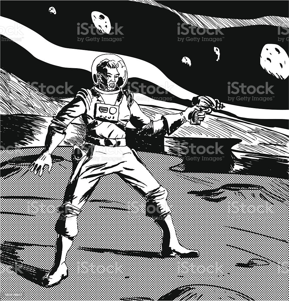 Black and white drawing of a spaceman on another planet vector art illustration