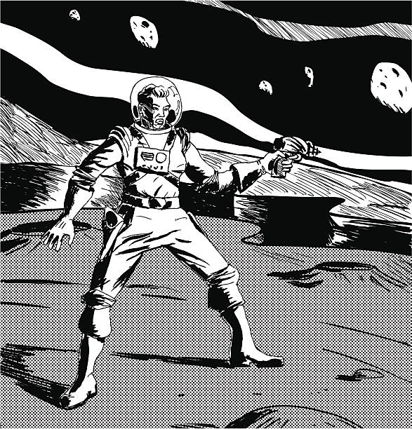 black and white drawing of a spaceman on another planet - 1940s style stock illustrations