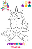 Black and white drawing of a unicorn for coloring. Cute unicorn for coloring book. Coloring by numbers. Logo color me.