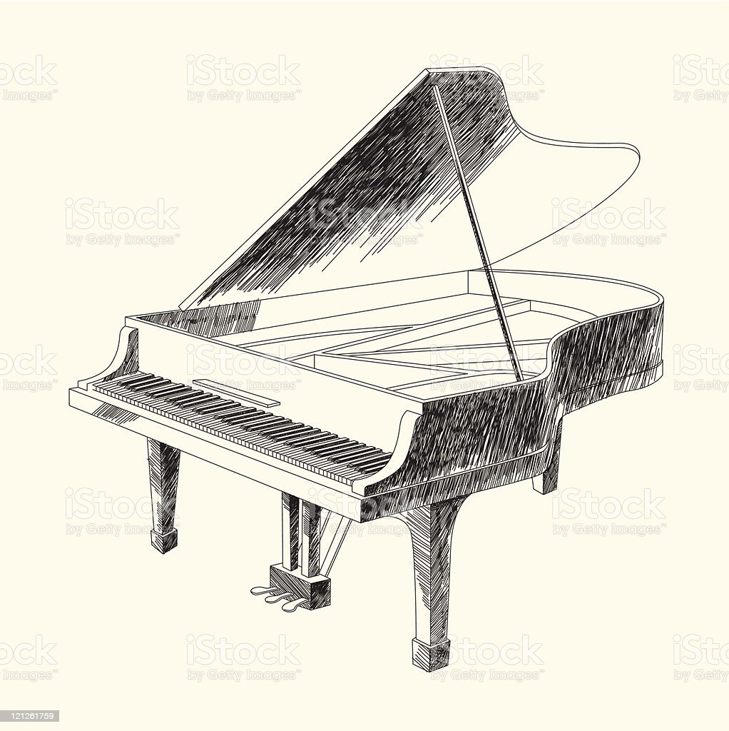 Black And White Drawing Of Grand Piano Stock Vector Art & More ...