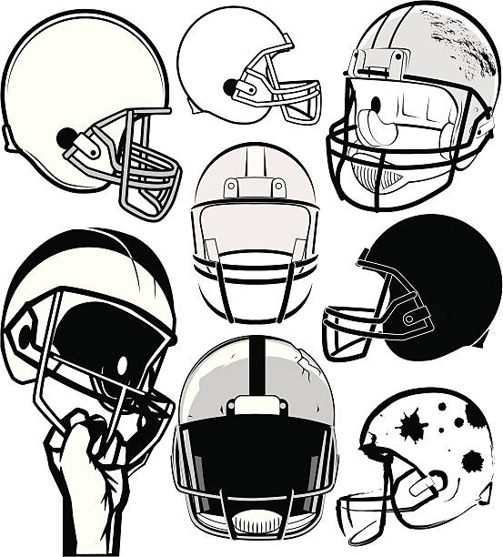 Black and white drawing of various football helmets Football helmet clip art football helmet stock illustrations