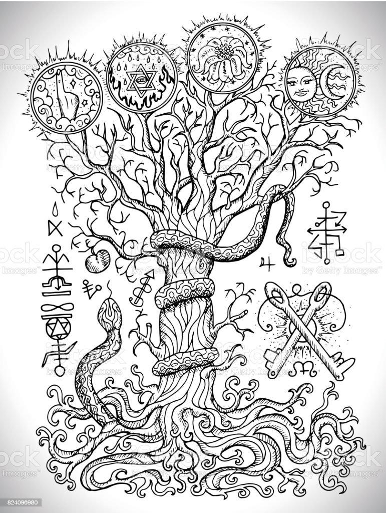 ilustração de preto e branco desenho com símbolos religiosos