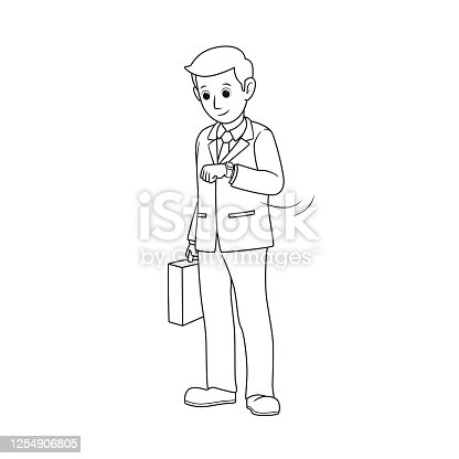istock Black and white drawings for colouring A businessman standing at a wristwatch to see the time With the other hand holding a briefcase Can use images in business communications. 1254906805
