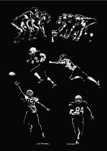 Black and white drawings of American football players