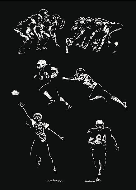 Black and white drawings of American football players Sketches of football players. Hand drawings - lights and shadows style. line of scrimmage stock illustrations