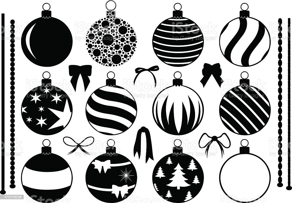 black and white drawings of christmas ornaments and bows royalty free black and white drawings