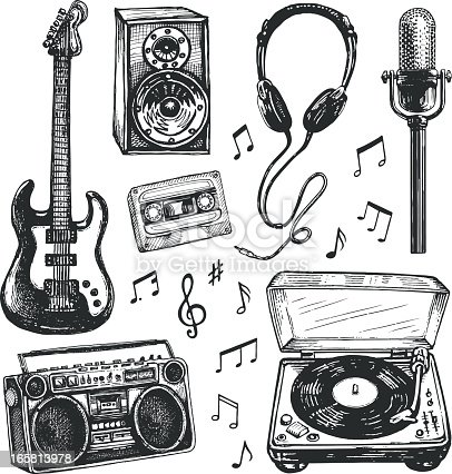 istock Black and white drawings of music related items 165813978