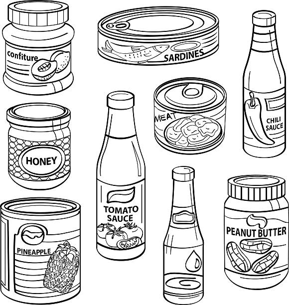Black and white drawings of processed food cans http://dl.dropbox.com/u/38148230/LB23.jpg tomato sauce stock illustrations