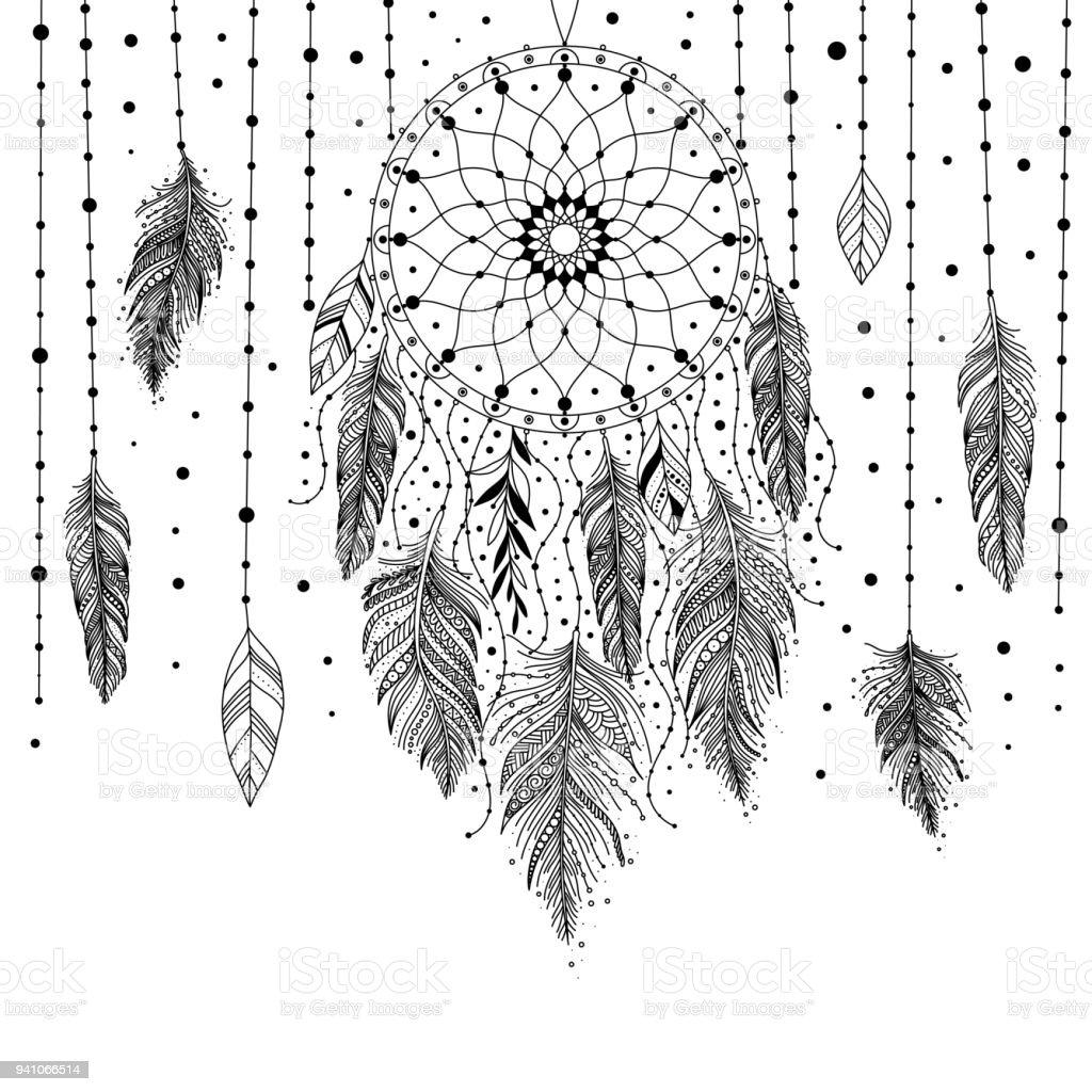 Carte de dreamcatcher noir et blanc - Illustration vectorielle