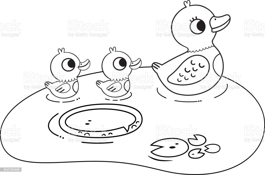 Black And White Duck Family Illustration Royalty Free Stock