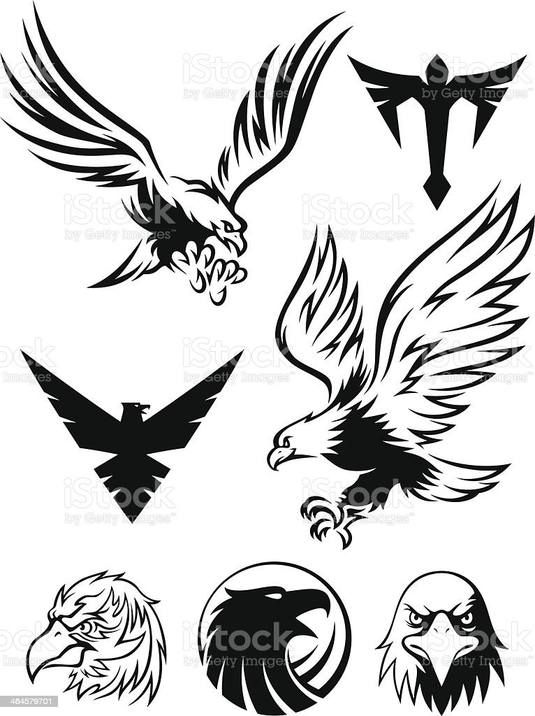 Black and white eagle pictures vector art illustration