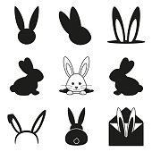 Black and white easter bunny silhouette set. Various rabbit symbols. Spring themed vector illustration for stamp, label, certificate, brochure, gift card, poster, coupon or banner decoration