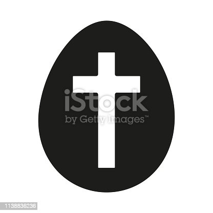 Black and white easter egg silhouette. Cross christianity symbol. Easter themed vector illustration for icon, stamp, label, certificate, brochure, gift card, poster, coupon or banner decoration